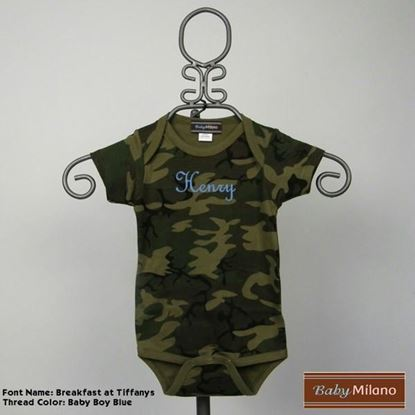 Picture of Personalized Camouflage Baby Onesie with Name by Baby Milano