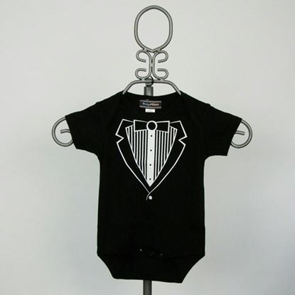 Picture of Black Jacket Tuxedo Onesie- Short Sleeve