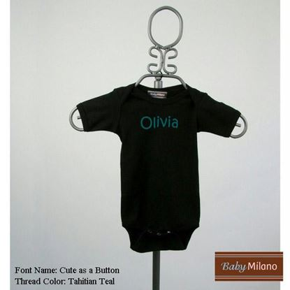 Picture of Personalized Black Short Sleeve Baby Onesie with Name by Baby Milano