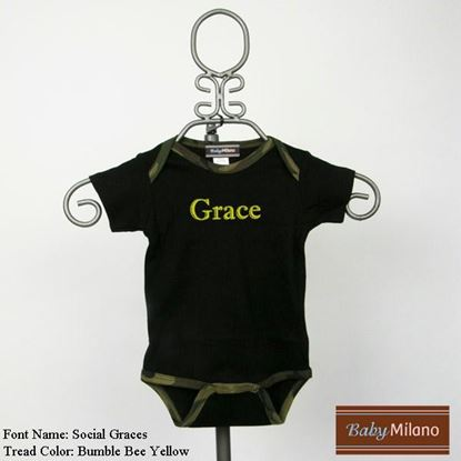 Picture of Personalized Black and Green Camo Trim Baby Onesie with Name by Baby Milano