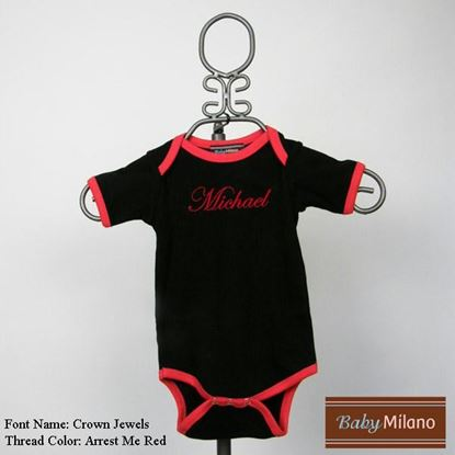 Picture of Personalized Black and Red Trim Baby Onesie with Name by Baby Milano