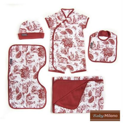 Picture of Burgundy Toile Baby Gift Set - 5 pc