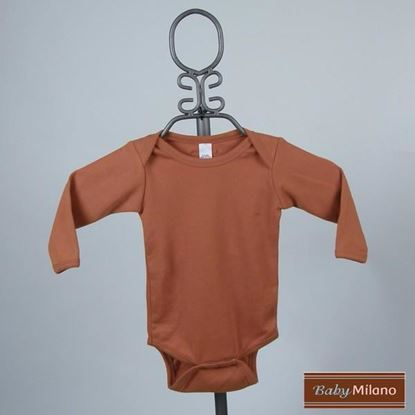 Picture of Burnt Orange Baby Onesie - Long Sleeve by Baby Milano