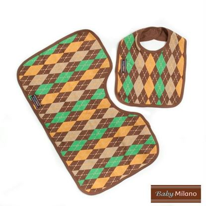Picture of Argyle Gift Set - Brown Bib & Burp Cloth