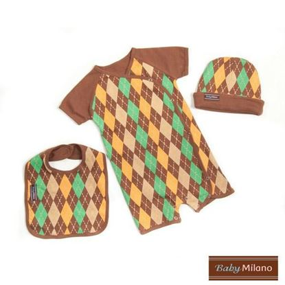 Picture of Baby Boy Gift Set- 3 pc Brown Argyle