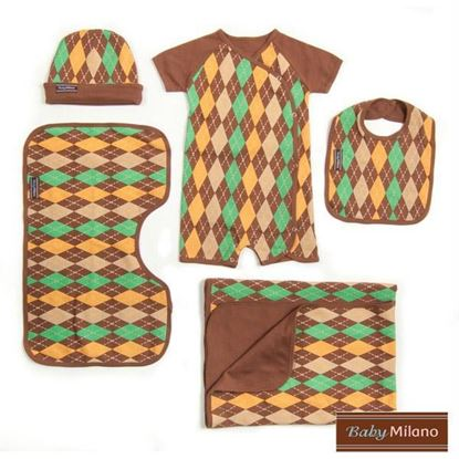 Picture of Argyle Baby Gift Set- Brown 5 pc