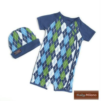 Picture of Blue Argyle Gift- Hat & Body Suit Set
