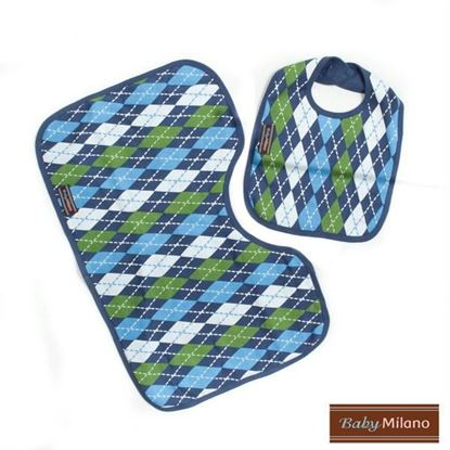Picture of Argyle Gift - Blue Bib & Burp Cloth