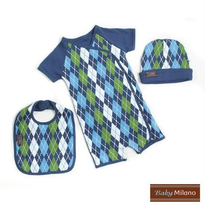 Picture of Baby Boy Gift Set- 3 pc Blue Argyle