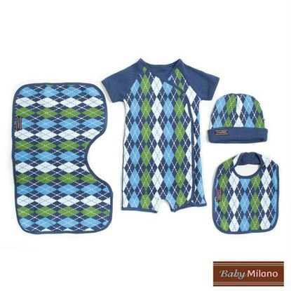 Picture of Argyle Baby Gift Set - Blue 4 pc