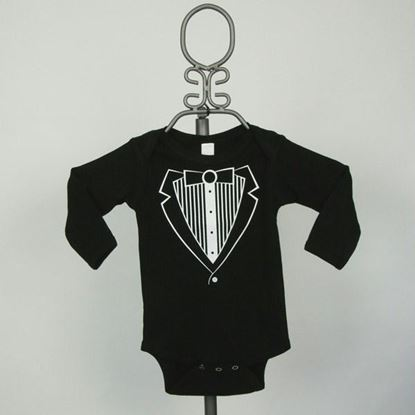 Picture of Black Jacket Tuxedo Onesie - Long Sleeve