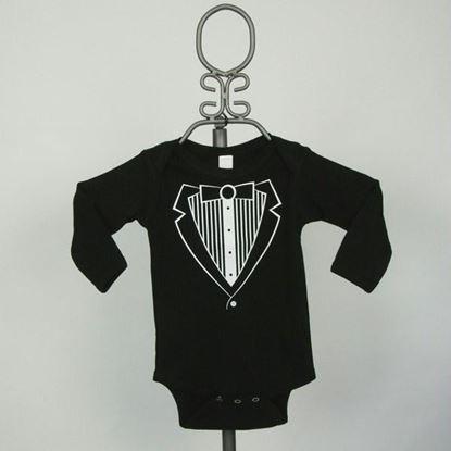 Picture of Black Jacket Tuxedo Onesie - Long Sleeve