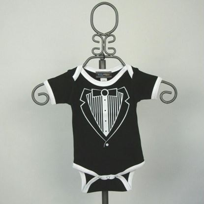 Picture of Black & White Jacket Tuxedo Onesie -Short Sleeve