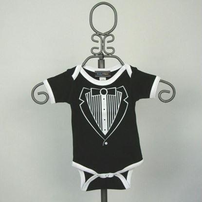 Picture of Black & White Jacket Tuxedo Onesie -Short Sleeve