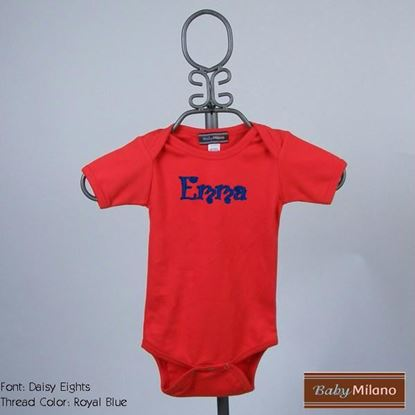 Picture of Personalized Red Baby Onesie with Name by Baby Milano