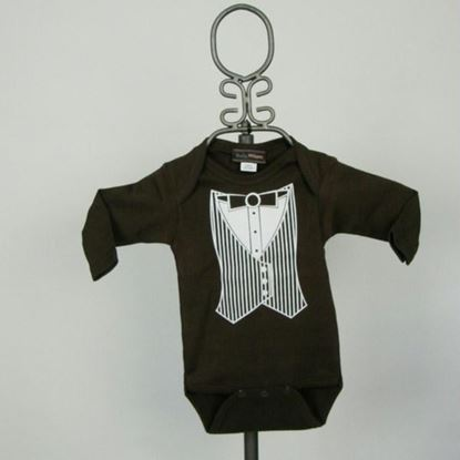 Picture of Brown Vest Tuxedo Onesie- Long Sleeve