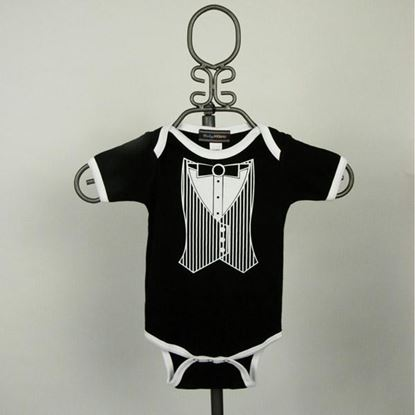 Picture of Black & White Vest Tuxedo Onesie -Short Sleeve