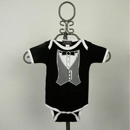Picture of Black & White Vest Tuxedo Onesie -Short Sleeve