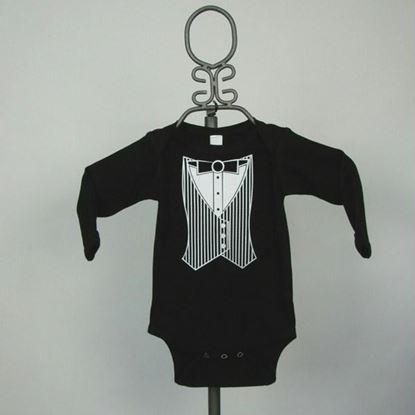 Picture of Black Vest Tuxedo Onesie - Long Sleeve