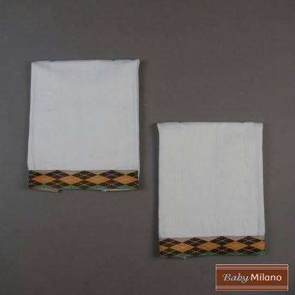 Picture of Baby Burp Cloths 2- Pack Brown Argyle