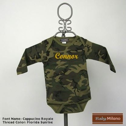 Picture of Personalized Camouflage Long Sleeve Baby Onesie with Name by Baby Milano
