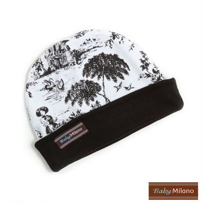 Picture of Baby Beanie Hat - Black Toile