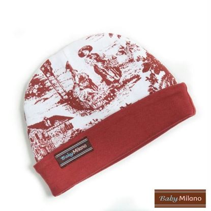 Picture of Baby Beanie Hat - Toile Burgundy