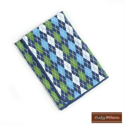 Picture of Argyle Baby Blanket - Blue