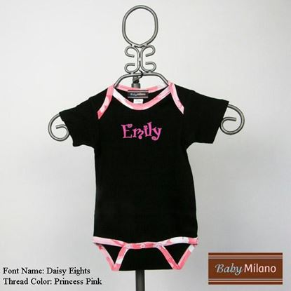 Picture of Personalized Black and Pink Camo Trim Baby Onesie with Name by Baby Milano