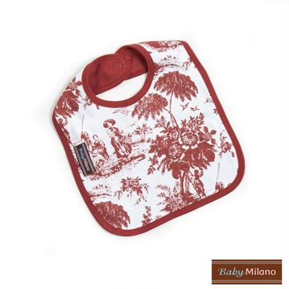 Picture of Burgundy Toile Bib