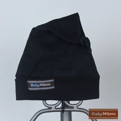 Picture of Black Knotted Baby Beanie Hat by Baby Milano