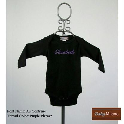 Picture of Personalized Black Long Sleeve Baby Onesie with Name by Baby Milano