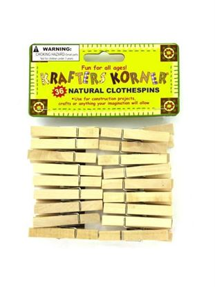 Picture of Natural wood craft clothespins (Available in a pack of 24)