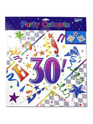 Picture of 30th birthday cut-outs, pack of 3 (Available in a pack of 24)